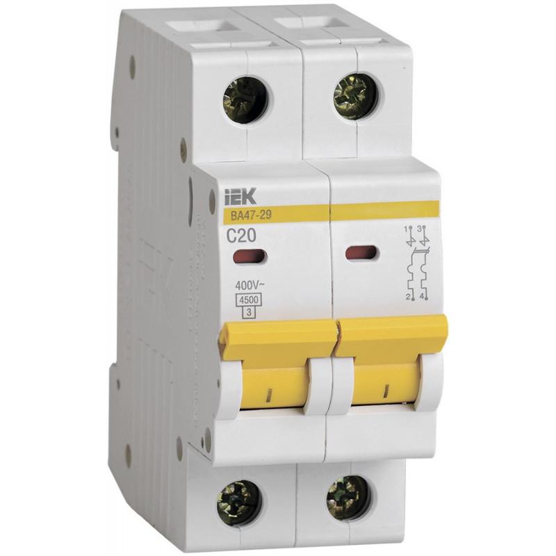 Автоматичний вимикач ВА47-29 2Р 20А 4,5кА С. IEK IEK - 1