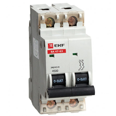 Автоматический выключатель ВА 47-63, 2P 10А (C) 4,5kA EKF EKF - 1