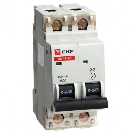Автоматичний вимикач ВА 47-63, 2P 63А (C) 4,5kA EKF EKF - 1