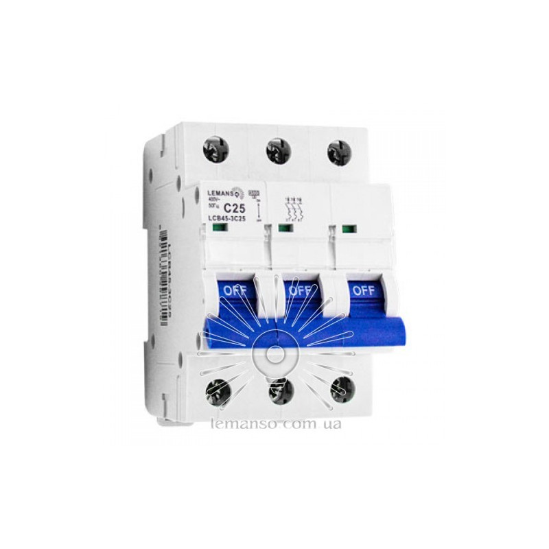 Автоматичний вимикач Lemanso 4.5KA (тип С) 3п 20A LCB45 Lemanso - 1