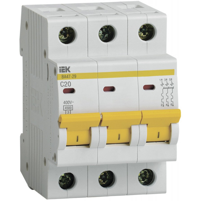 Автоматичний вимикач ВА47-29 3Р 20А 4,5кА ТИП С IEK IEK - 1