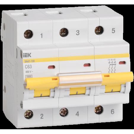 Автоматический выключатель ВА47-100 3Р 63А 10кА С IEK IEK - 1