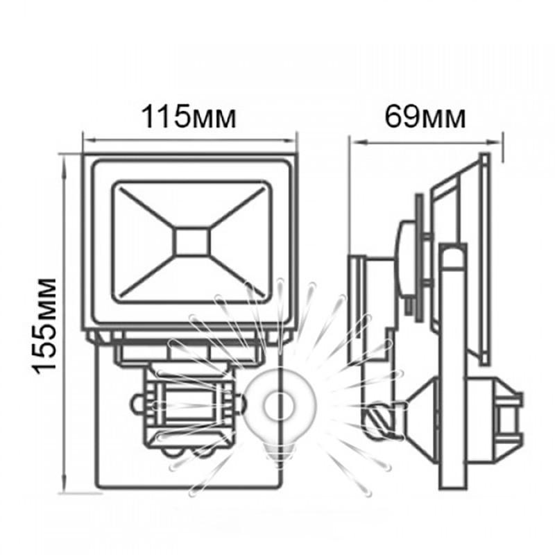 Прожектор Lemanso LED 10W 6500K IP65 з датч./ LMPS14 Lemanso - 2